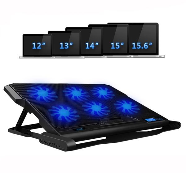 Laptop cooler 2 USB Ports and Six cooling Fans For Notebooks sizes 12-15.6 inch